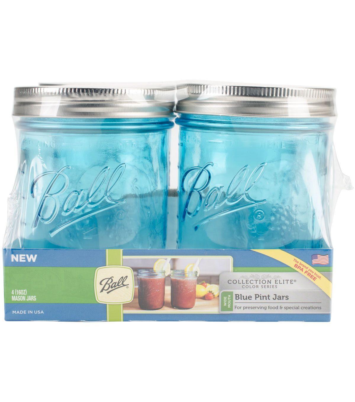 Ball Mason Jar 16oz Wide Mouth Aqua Blue Glass Canning Crafting Collection Elite