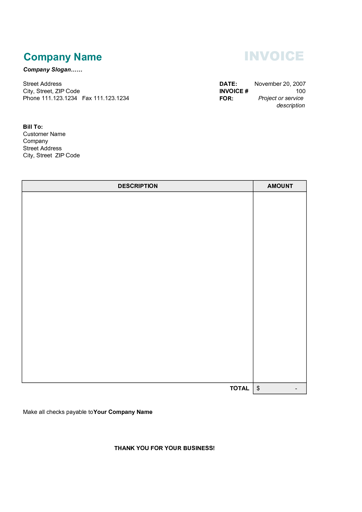 Free Business Invoice Template By Heroes On Parade NAyggXB An - Online bill template