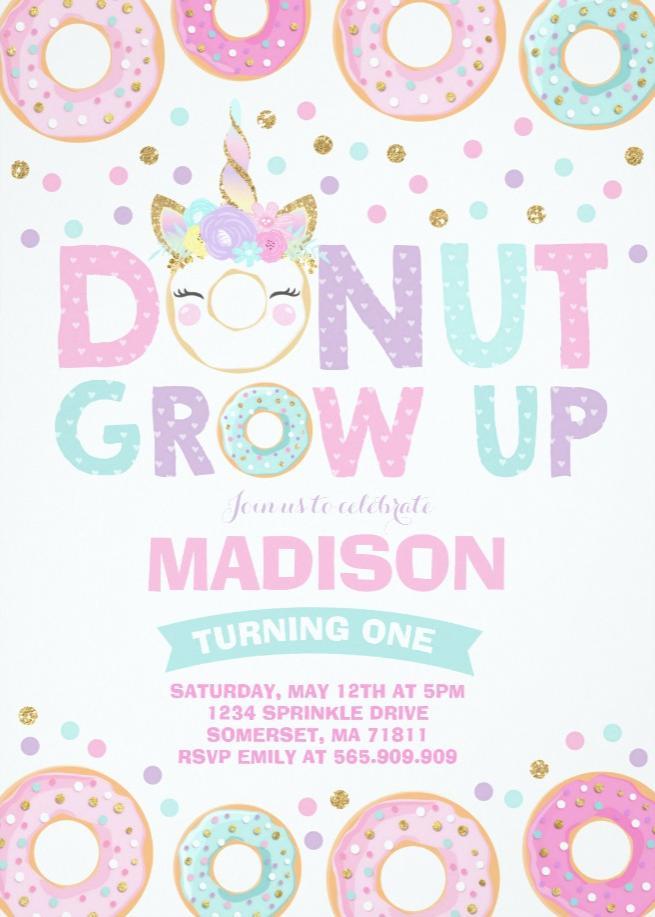 Donut Grow Up Birthday Invitation Donut Unicorn Zazzle Com Donut Themed Birthday Party 2nd Birthday Party Themes First Birthday Party Themes