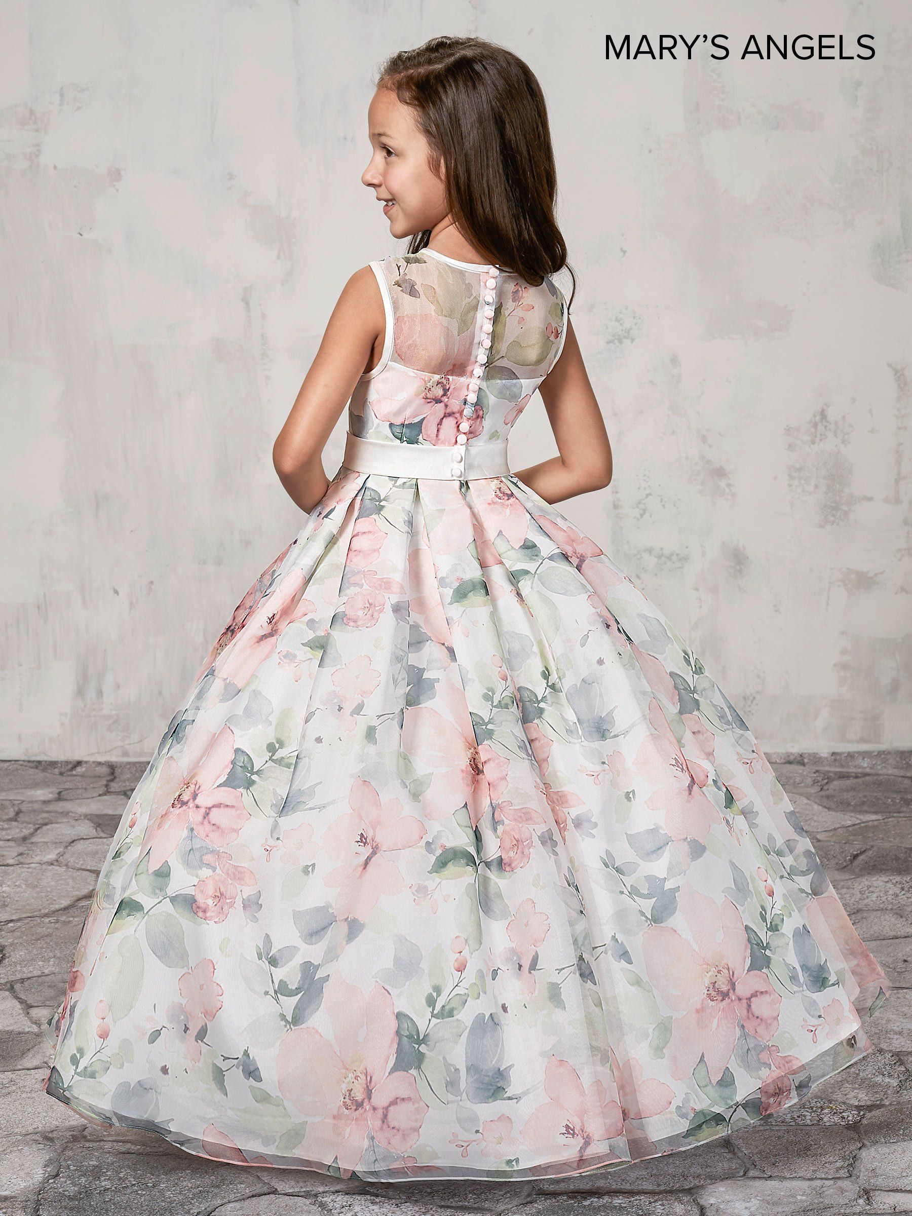 fd6592913ed83 Long Floral Print Flower Girl Dress by Mary's Bridal MB9009-Mary's Bridal  Angels Collection-