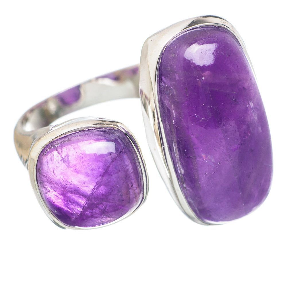 Amethyst 925 Sterling Silver Ring Size 6 Adjustable RING758864