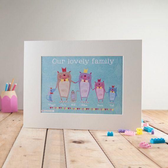 Personalised Family Portrait Print  Bear Family  Family
