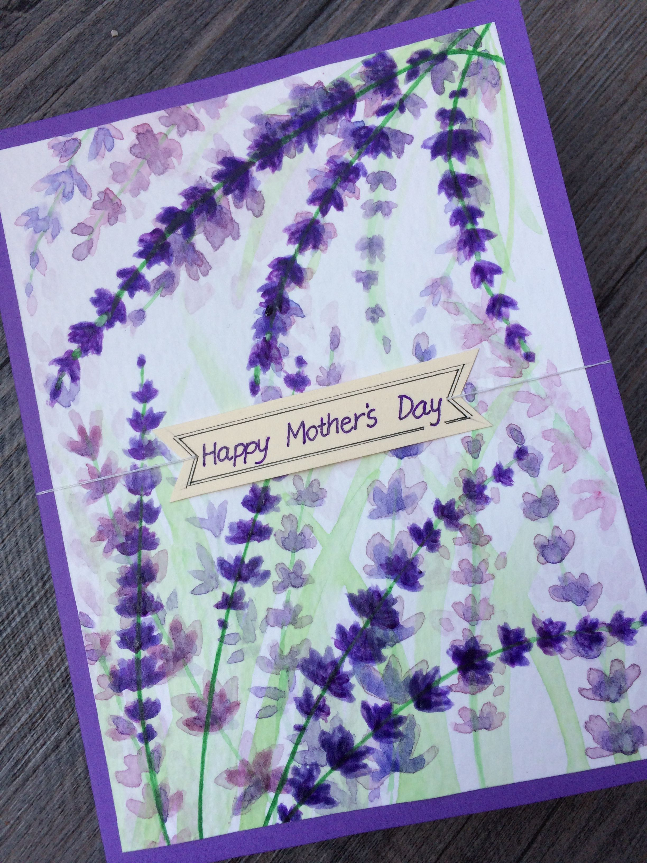 Mother S Day Card Lavender Blossoms For Moms Who Love Purple Birthday Cards For Mother Birthday Cards Diy Watercolor Birthday Cards