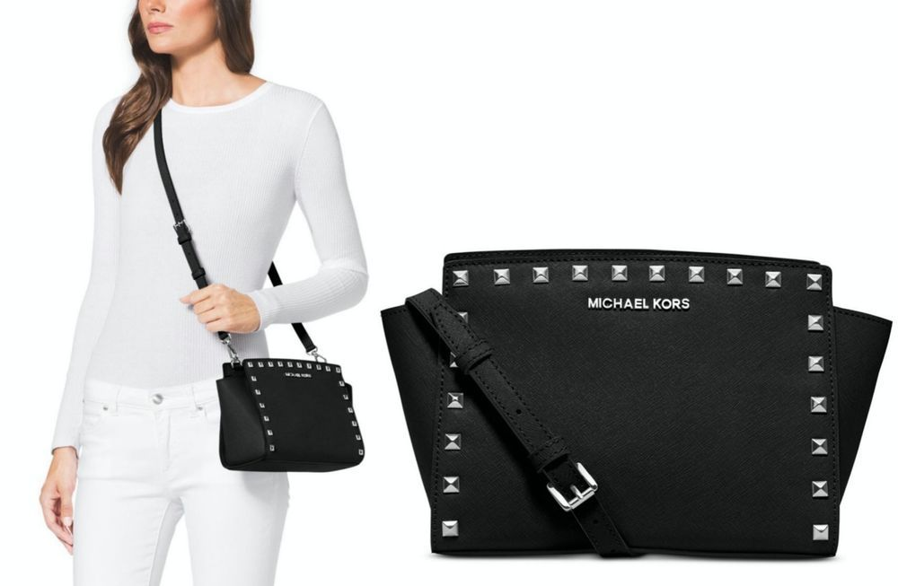 28f0a3e316d9 Michael Kors Selma Studded Medium Crossbody Black Silver NWT  MichaelKors   Crossbody