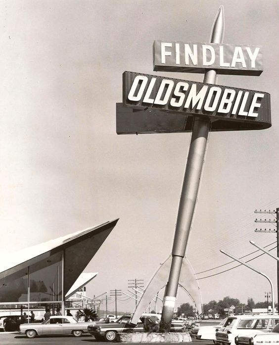 Googie & Rockets at Findlay Olds, Las Vegas, c  1963  A