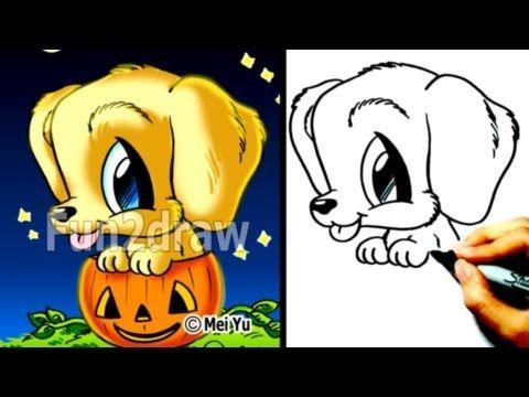 Golden Retriever Puppy How To Draw A Dog For Halloween In A Pumpkin Cute Drawings Fun2draw Fun2draw Cute Drawings Cartoon Drawings Of Animals