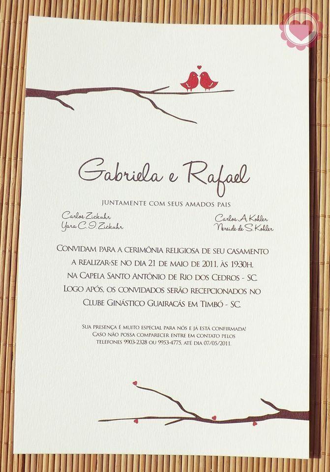 Convites de Casamento - Galeria de Sexta   Convite de ...