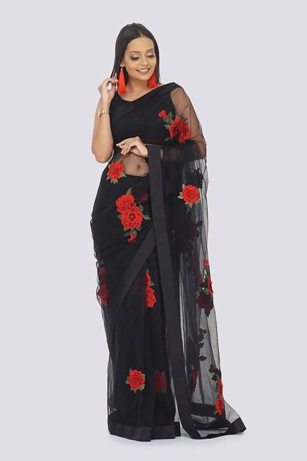 25d3f5d90409b4 Black Net Saree With 3D Red Flowers Patched All Over. Drape this sexy black  saree with beautiful red applique floral work from COLORAUCTION.