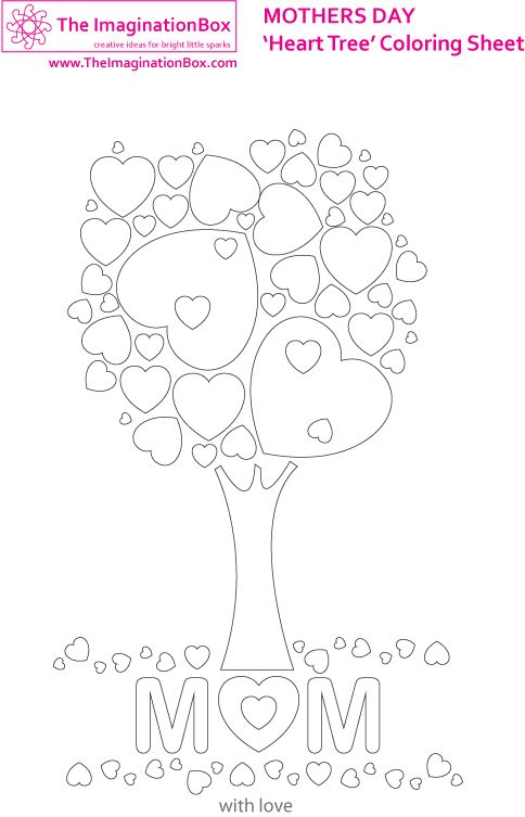 Decorate this free downloadable u0027heart treeu0027 picture for Mothers - mothers day card template