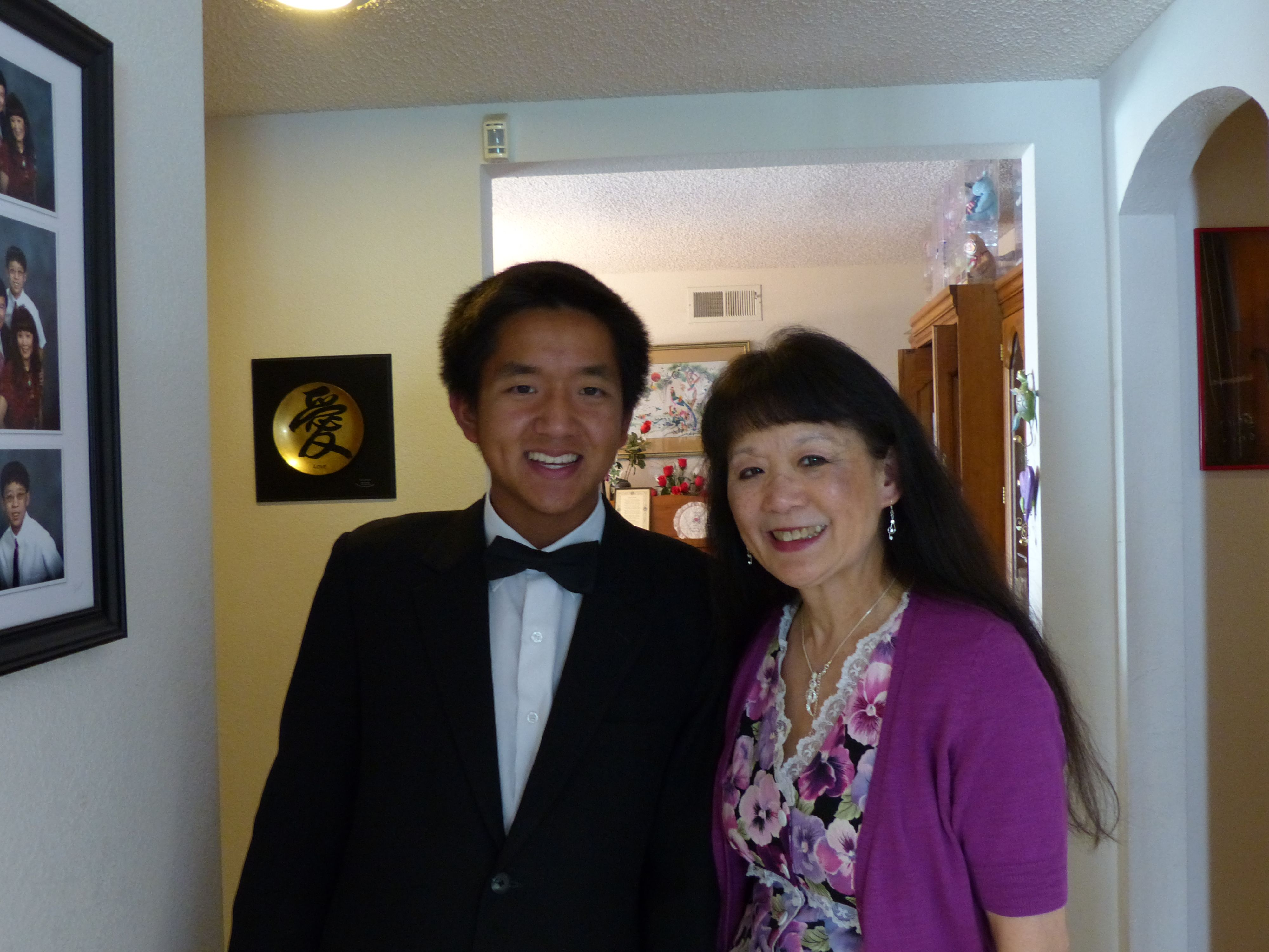 Patrick Yieh and I at my piano recitals on May 10, 2014.  Patrick just had won 3rd place at the Palo Alto US opens in piano for playing Chopin's Scherzo No. 2 in B flat Minor Opus 31.  Very gifted young man I used to teach and had not seen him since he was 9 years old.