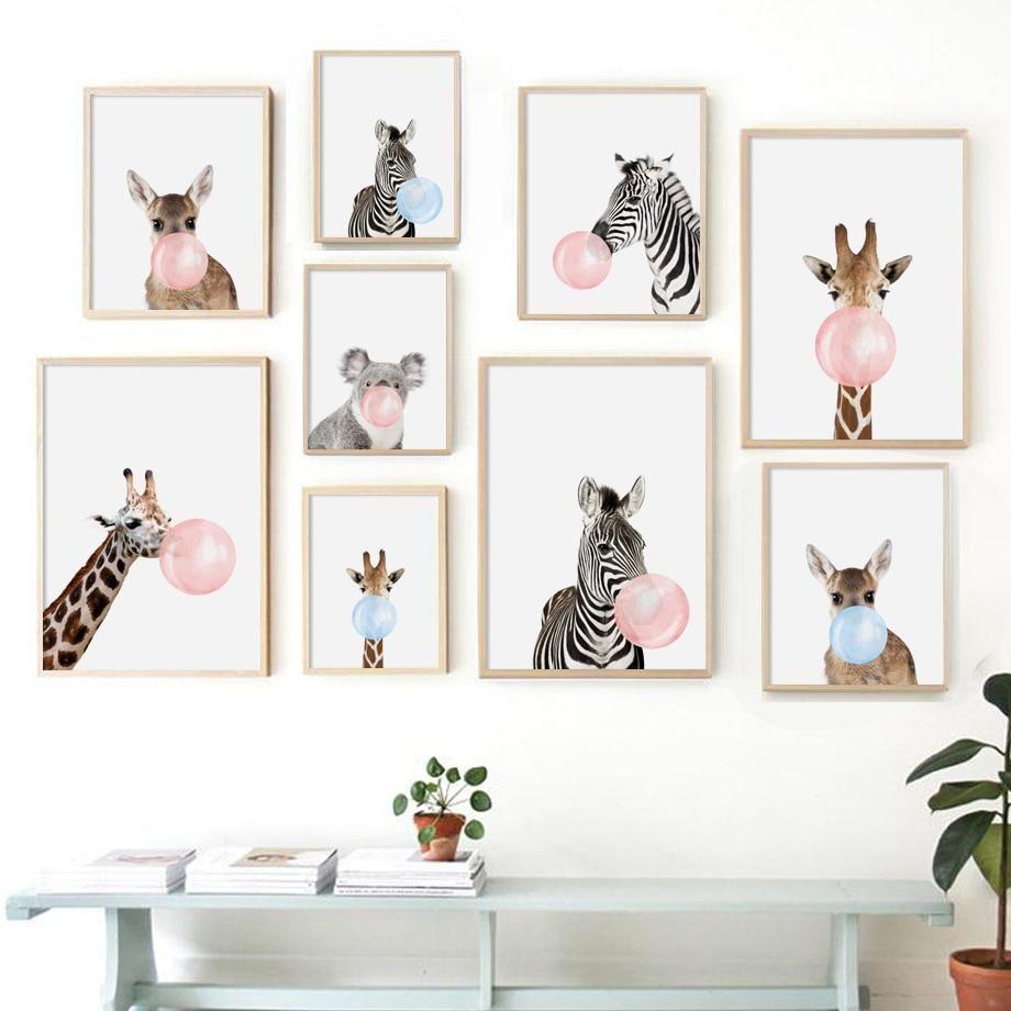 Cartoon Zebra Giraffe Koala Balloon Nordic Posters And Prints Wall Art Canvas Painting Animal Kids Room Wall Art Nursery Canvas Art Animal Wall Art