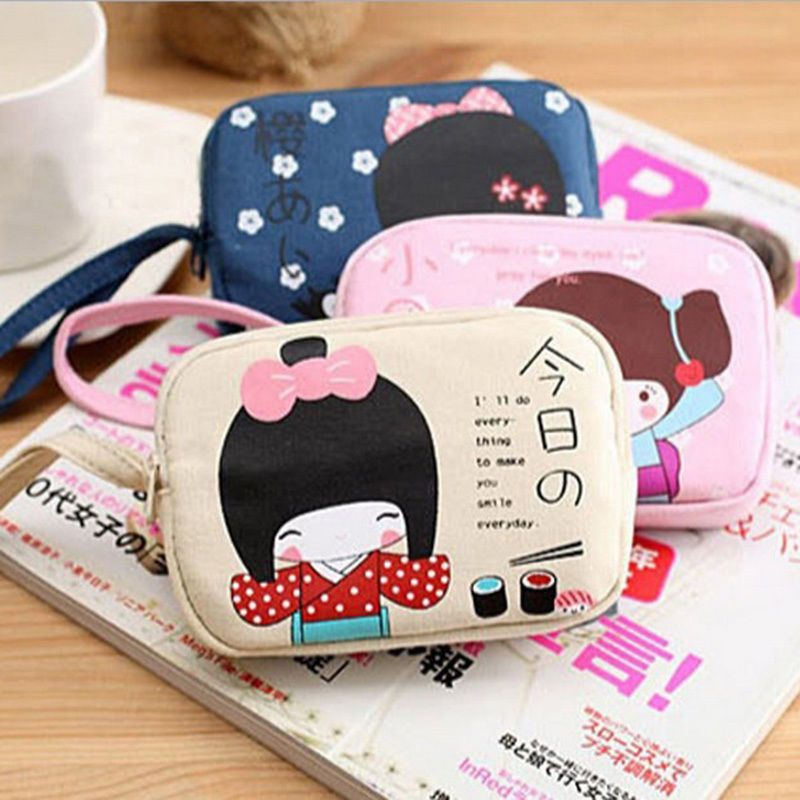 Cute Korean Girl Women Handbag Zip Coin Bag Case Key Card Holder