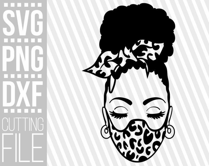 Black Woman In Mask Svg Afro Hair Svg Leopard Prints Svg Hair Bow Svg File For Cricut Vector Silhouette Instant Download Cuttable In 2021 Black Woman Silhouette Black Girl Magic Art