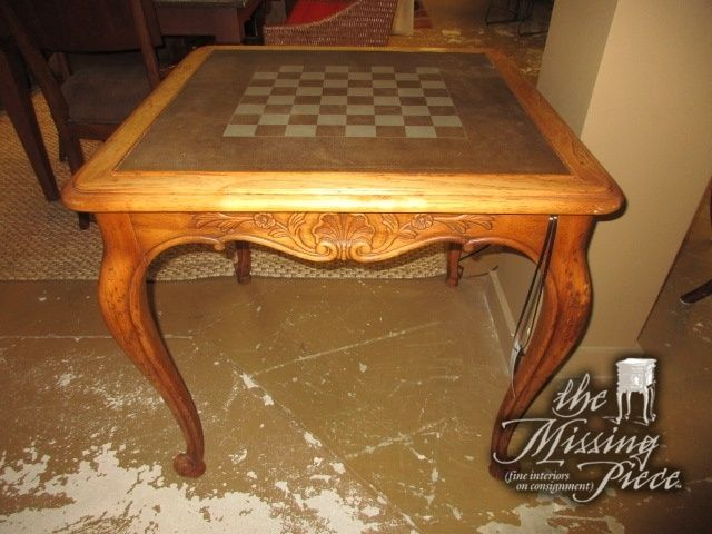 Superieur Drexel Flip Top Game Table In A Warm Honey Finish On Tall, Curved Legs.  There Is A Game Board On One Side And A Solid Wood Top On The Other Side.