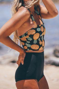 56a42d7376 Cupshe Fashion Women s Pineapple Printing High-waisted Halter Padding Bikini  Set (L)