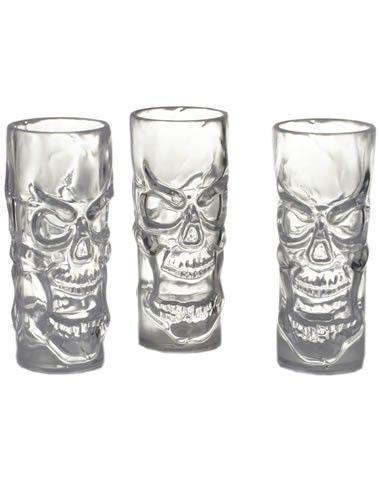 Clear Skull Shot Glasses Set 3 Diy Halloween Crafting