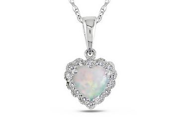 Heart shaped opal october birthstone heart shaped jewelry carat opal and diamond white gold heart pendant wchain aloadofball Choice Image