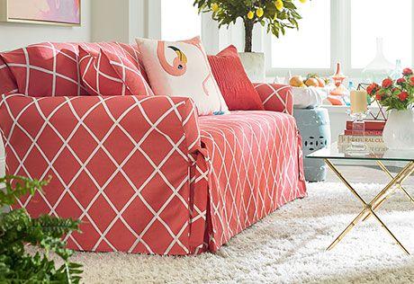 Lattice One Piece Sofa Slipcover | Slipcover sofa, Sunroom and ...
