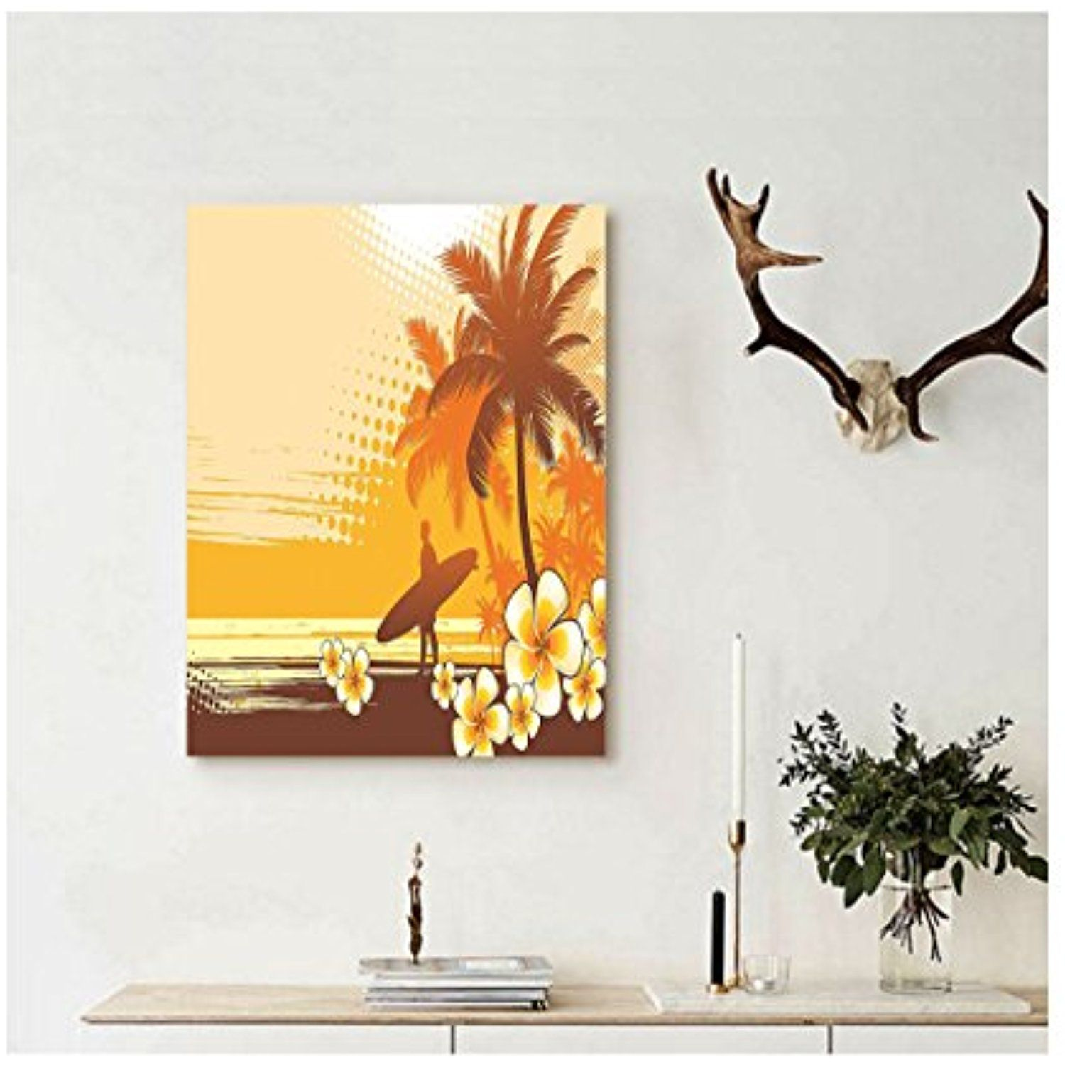 Liguo88 Custom canvas Surf Decor Wall Hanging Silhouette of a Surfer ...
