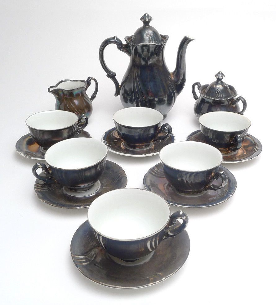 Antique Dekor Feinsilber Rw Bavaria 9 Piece Tea Set Silver Over White Tea Set Tea Party Sugar Bowl Set