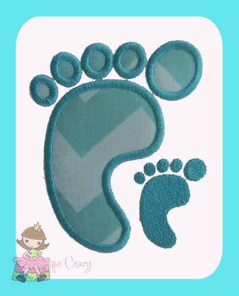Baby foot Applique and Embroidery design - Applique Crazy | Novelty ...