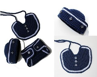 I love making these little sailor sets! Babies look so cute in them and now you can pick up the crochet pattern for it! You can make this for a little girl by adding a big bow to the hat, or using pink and white yarn!! It would be so sweet!!!