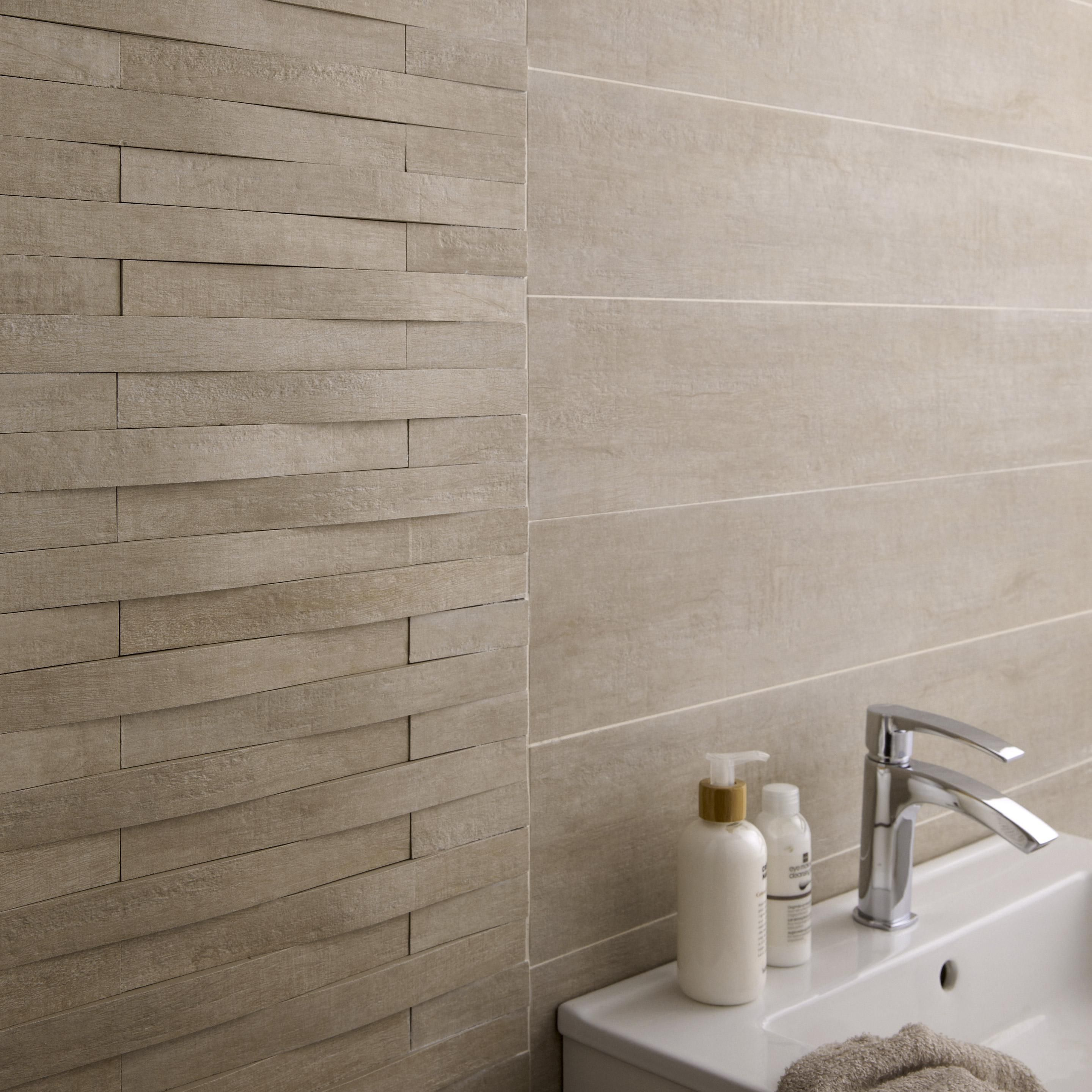 Carrelage mur et sol intenso bois beige mat l.17 x L.17 cm, Taiga