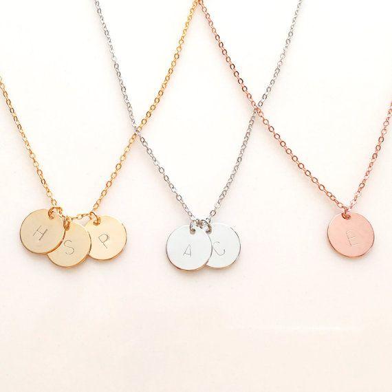 Collar de Círculo Personalizado Grabado para Mujer Joyas De Oro Rosa Plata Caja