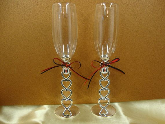 Wedding Toasting Glasses with Case IH Theme by StarBridal on Etsy, $34.95