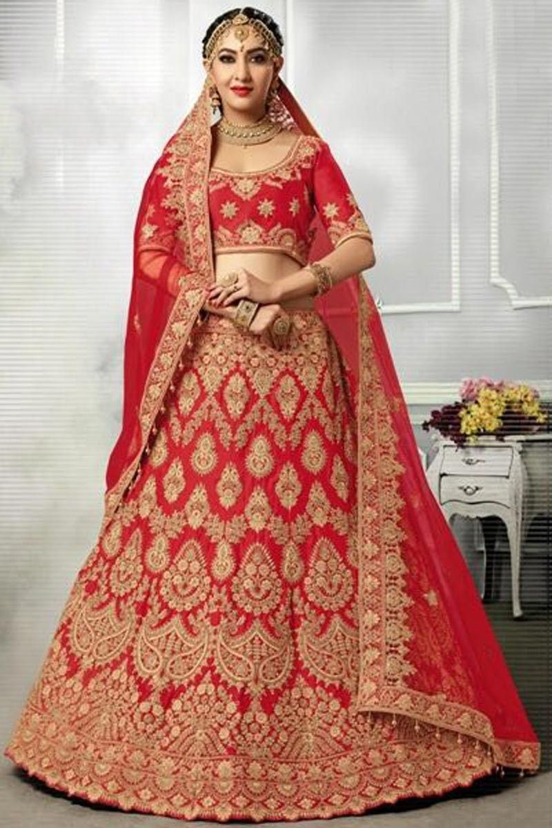 6eb390f763 Art Silk And Satin Red Designer 3 Piece Lehenga Choli With Embroidery  Designs And Attractive Blouse