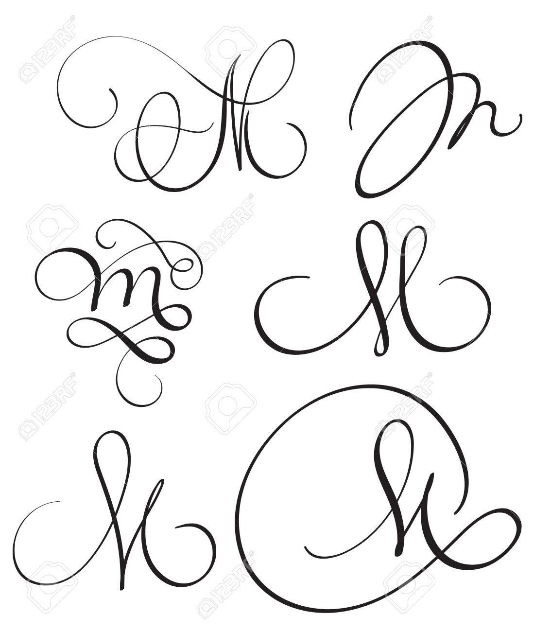 Set Of Art Calligraphy Letter M With Flourish Of Vintage Decorative Hand Lettering Alphabet Lettering Alphabet Calligraphy Letters