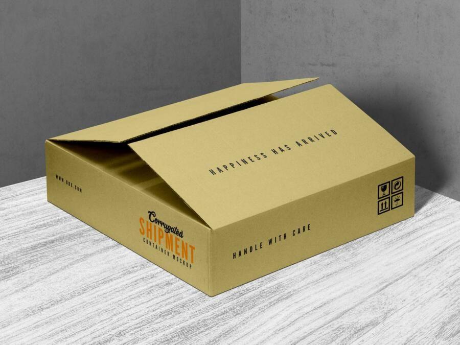 Download Corrugated Shipment Container Box Free Mockup In 2021 Free Mockup Box Mockup Free Mockup Templates