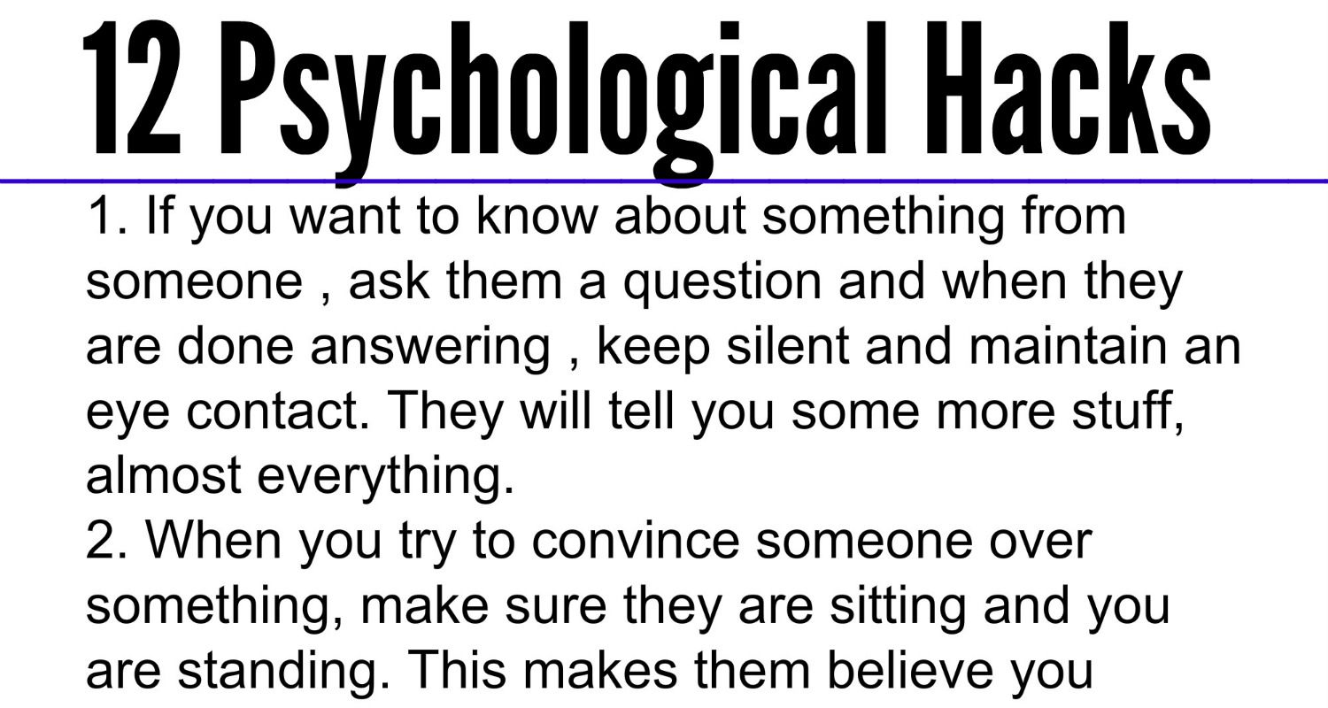 These Are Some Cool Psychological Hacks That Will Help You