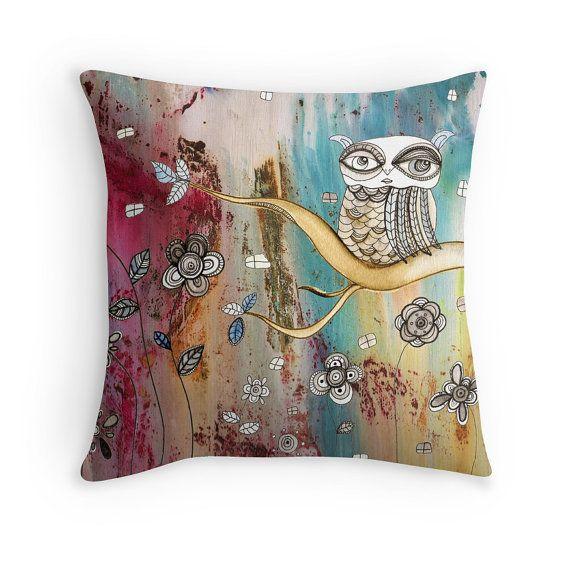 Owl Throw Pillow Home Decor Unique Colorful Owls Art Gypsy Floor Boho