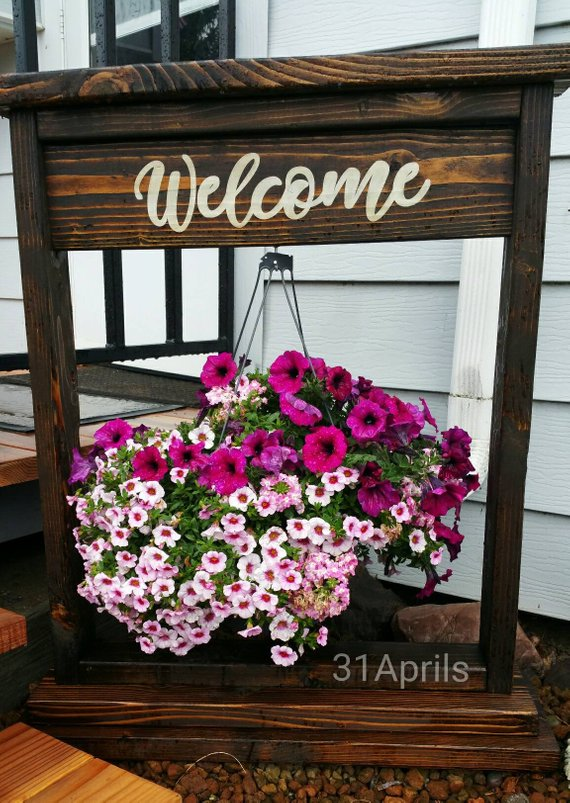 Hanging Flower Basket Stand Outdoor Flower Stand Personalized Plant Stand Porch Or Garden Decor Flower Stand Welcome Sign Wedding Hanging Flower Baskets Porch Plants Flower Stands