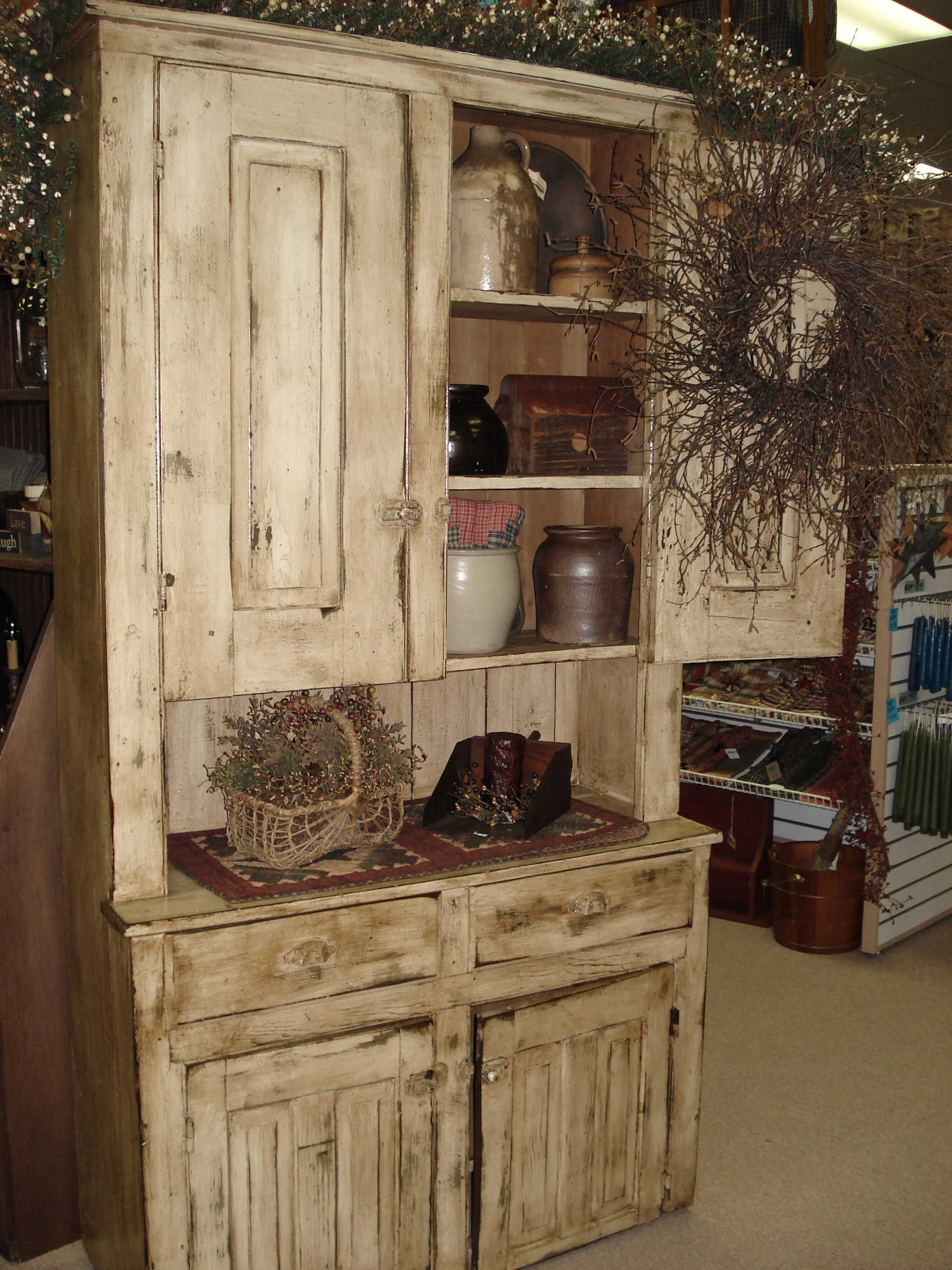 Old Distressed Cupboard Filled With Old Crocks From Carolina  # Muebles En Fayetteville Nc