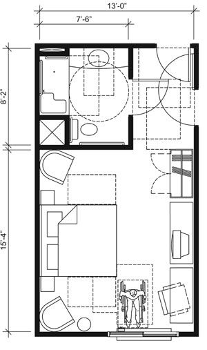 This drawing shows an accessible 13 foot wide guest room for Ada compliant flooring