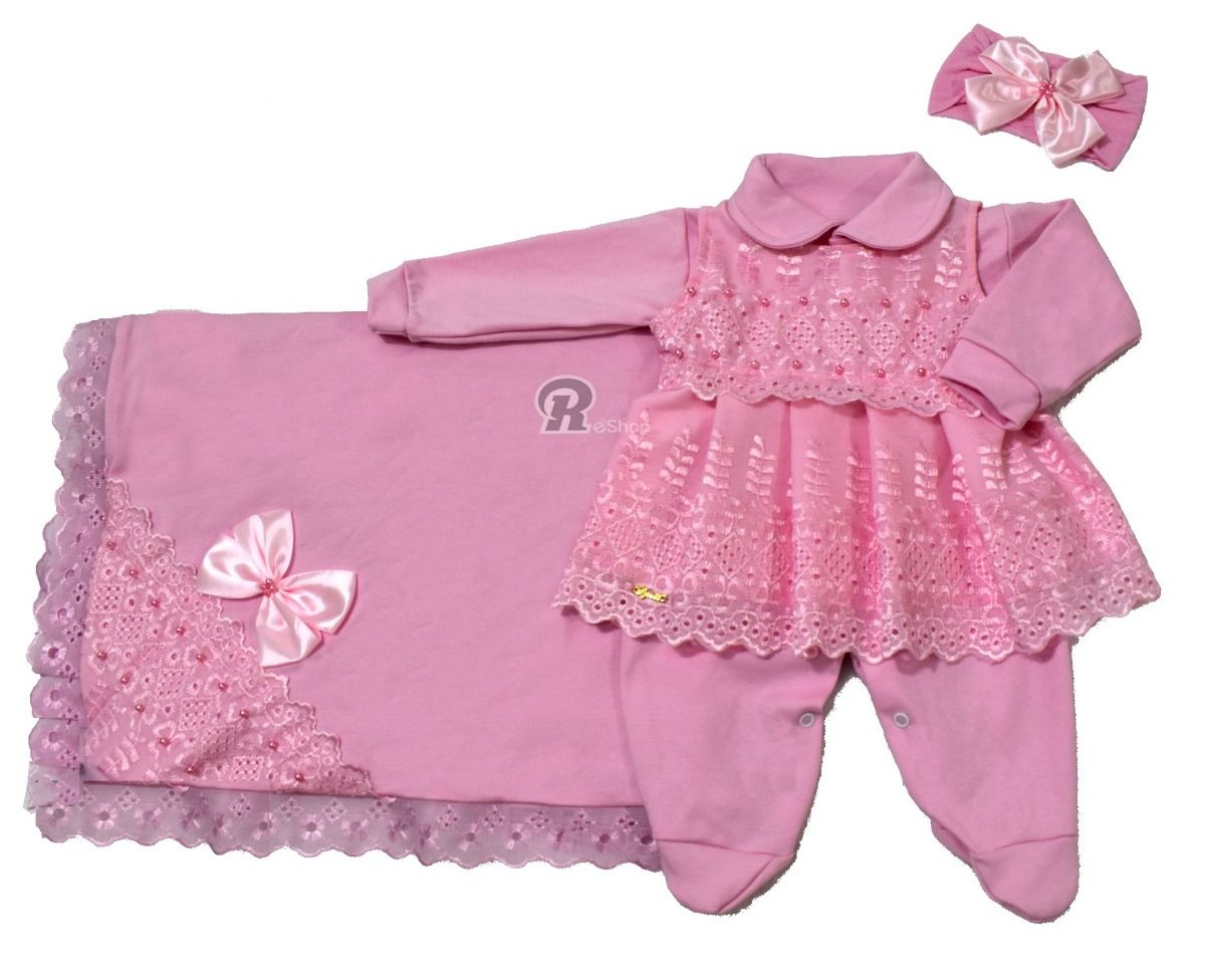 7d7d4ede8 kit saída maternidade malha princesa bebe menina com manta | Bebês ...