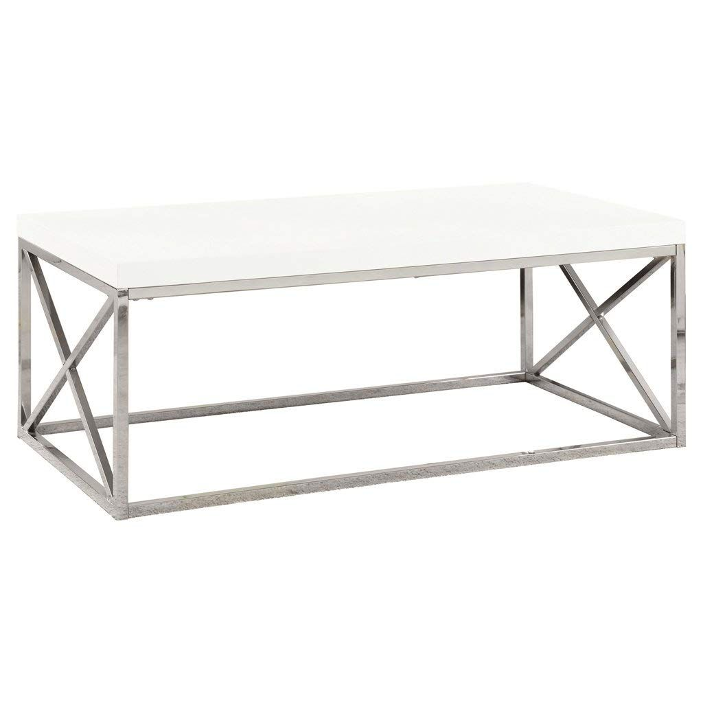 Amazon Com Monarch Specialties I 3028 Cocktail Table Chrome Metal Glossy White Kitchen Dining Coffee Table Coffee Table Wood Coffee Table White [ 1024 x 1024 Pixel ]
