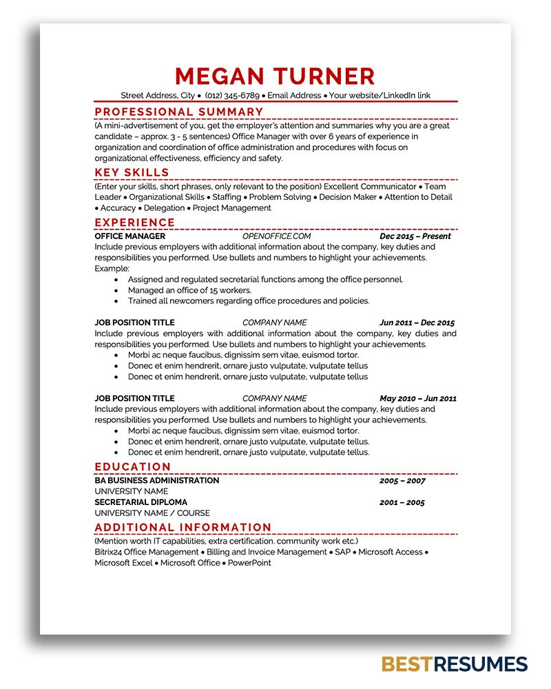 Resume Template Megan Turner BestResumes.info in 2020