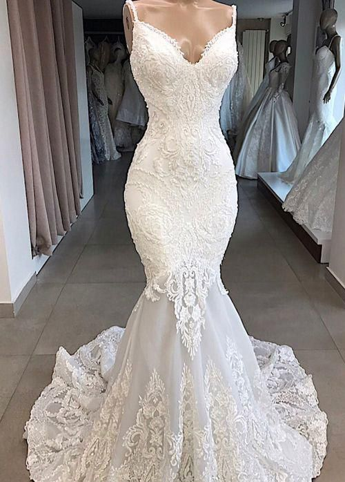 Simple Wedding Dresses, Elegant Tulle Spaghetti Straps Neckline Mermaid Wedding Dresses With Beaded Lace Appliques MagBridal