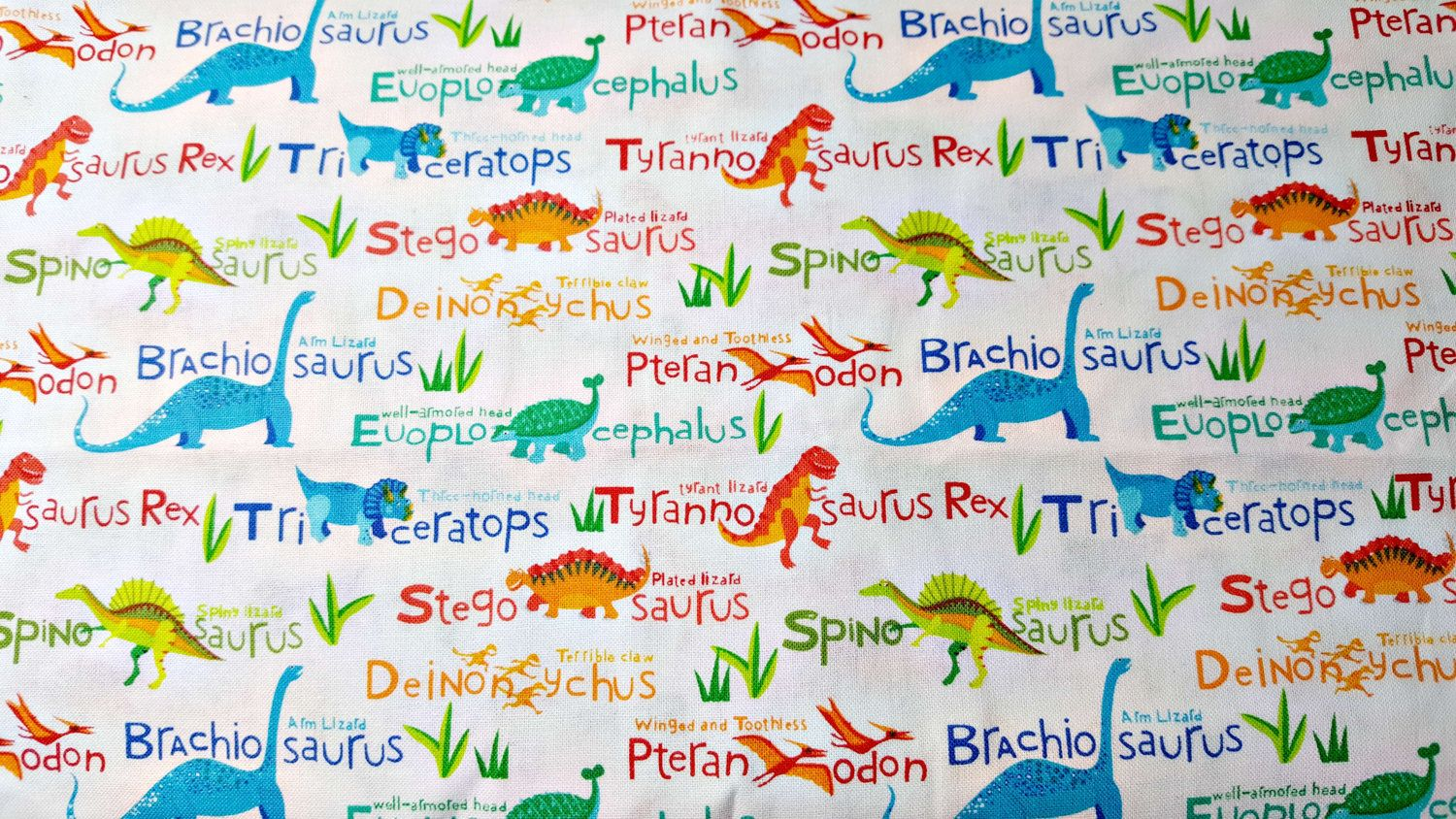 Dinosaur Names Novelty Cotton Fabric by the Yard by LaCreekBlue on Etsy