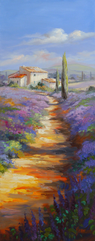 Weg durch Lavendelfelder in der Provence, in Frankreichs sonnenreichen Süden | Gemälde von Ute Herrmann | www.ute-herrmann-kunstmalerin.de #oilpainting #france #provence #lavender
