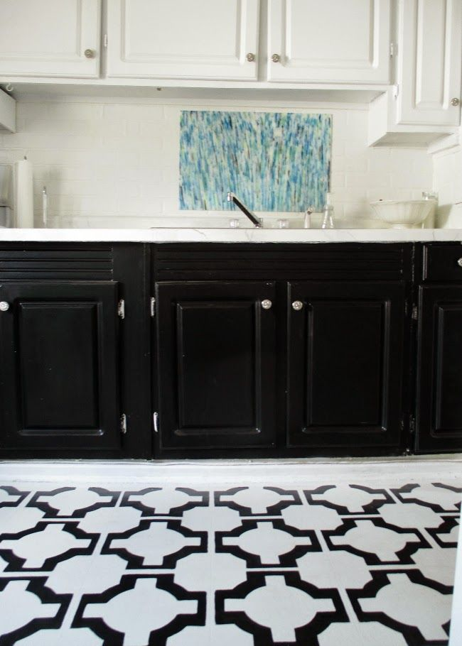 Groovy Black And White Kitchen With Painted Vinyl Floors Kitchen Interior Design Ideas Grebswwsoteloinfo