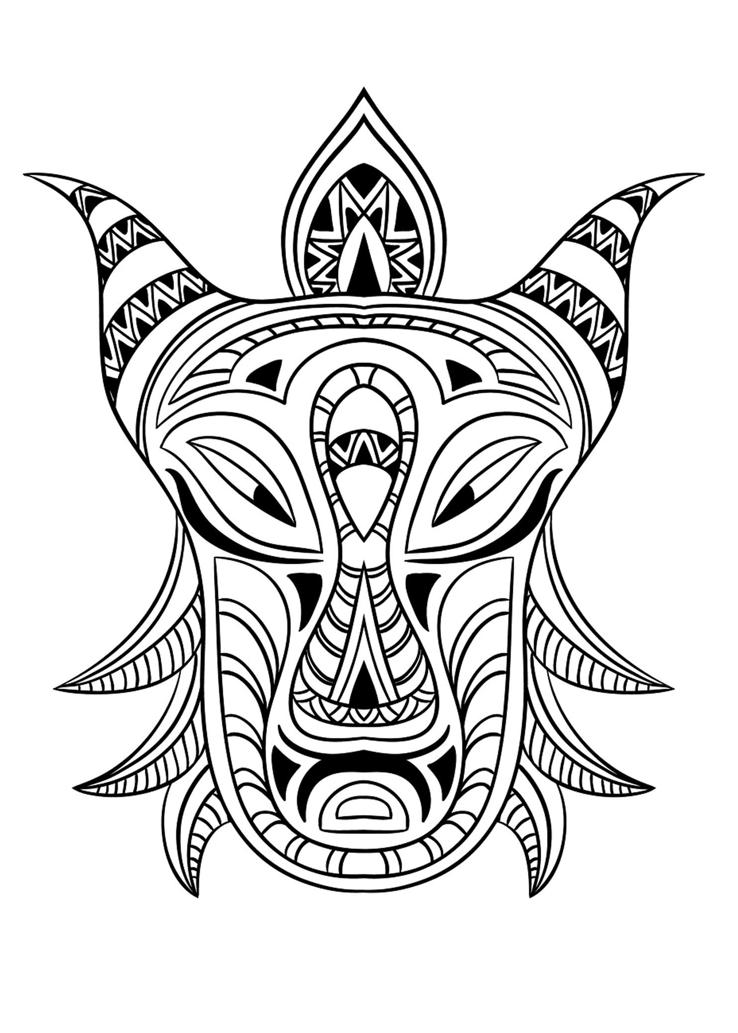 Free coloring page coloring-adult-african-mask-3. Coloring