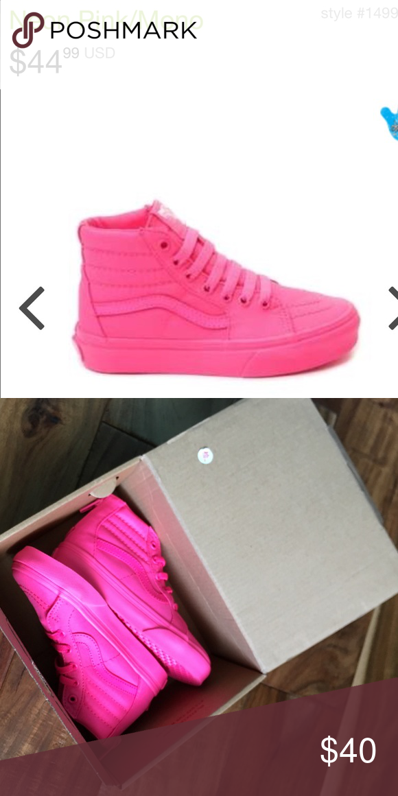 1e80e222b7e6 Vans neon pink high tops size 9 girls Brand new in box. Kids junior hot pink  vans high tops. Super cute. Size 9. True to size. Girls vans Shoes Sneakers