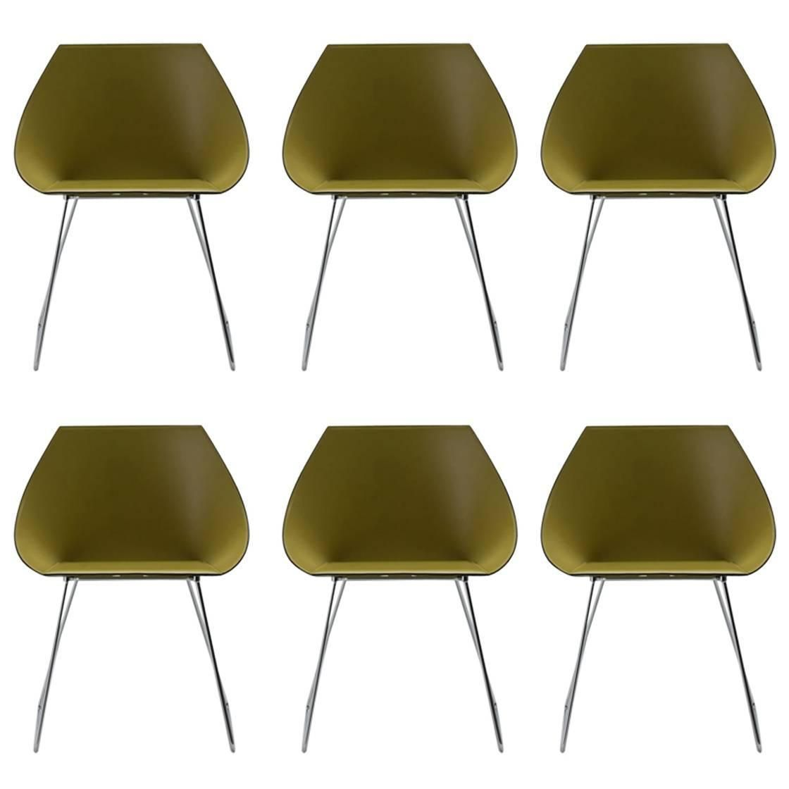 Set Of Six Italian Modern Dining Chair Made In Italy New Leather