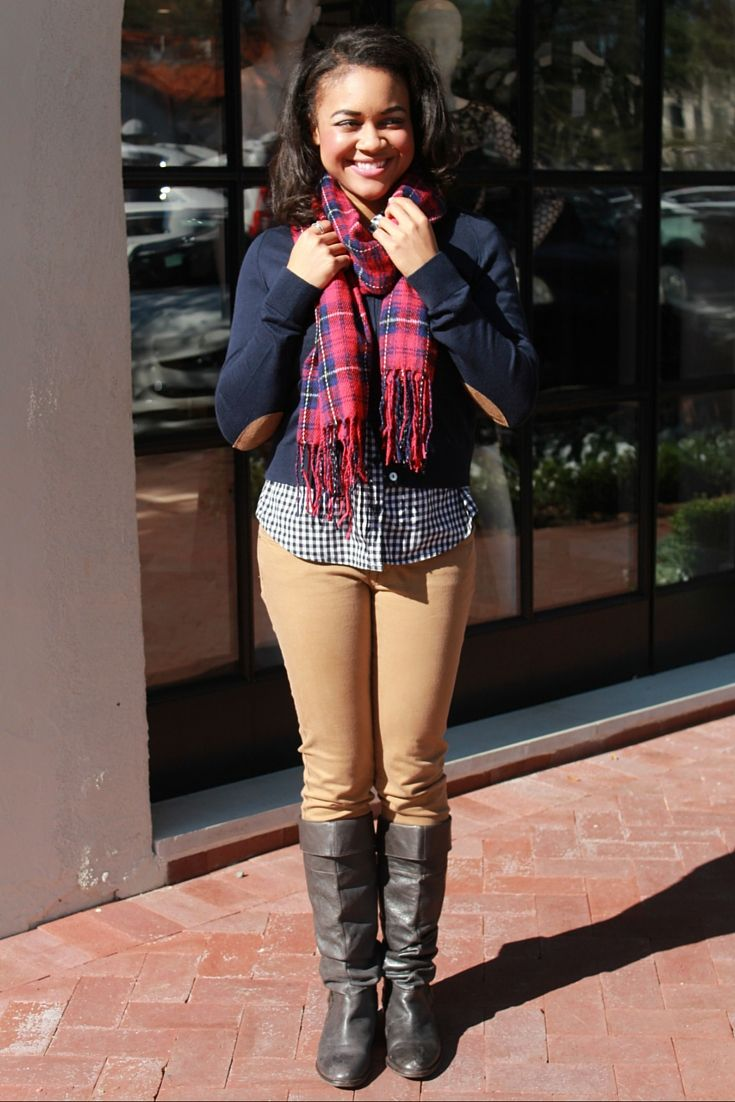 Preppy Outfit | Riding Boots | Camel Pants | Cardigan with elbow patches | Plaid scarf | Gingham button up