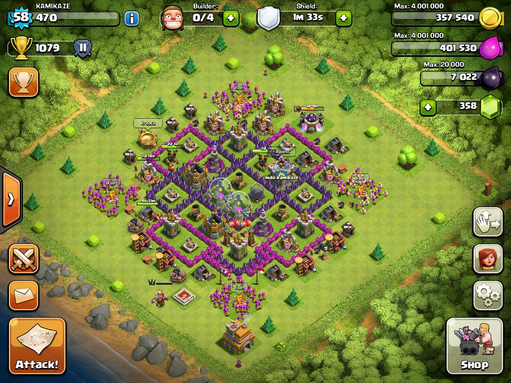 Town Hall 7 Home Base Design Part - 50: The Best My Id Kamikaze Clash Of Clans Town Hall 7