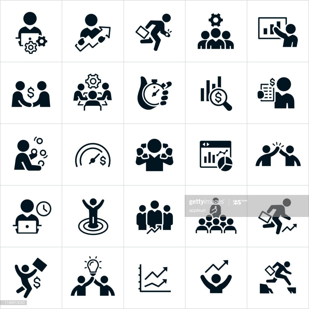 A Set Of Black Productivity Icons The Icons Include Business People Microphone Icon Graphic Design Posters Icon